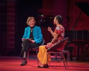 Mary Robinson talks climate change with Selina Leem. Photo Skoll World Forum