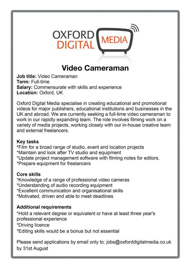 Video Editor Or Cameraman WeRe Recruiting  Oxford Video